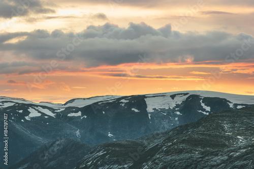 Poster Corail Sunset Mountains Landscape in Norway Trolltunga Travel scenery scandinavian wild nature