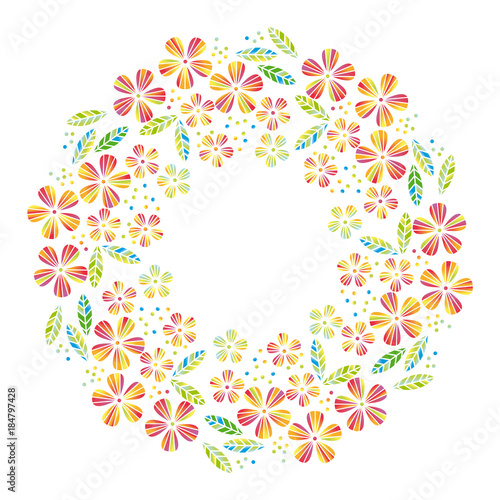 Tropical Flowers And Leaves Simple And Decorative Vector
