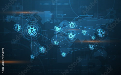 Global Abstract Bitcoin Crypto Currency Blockchain ...