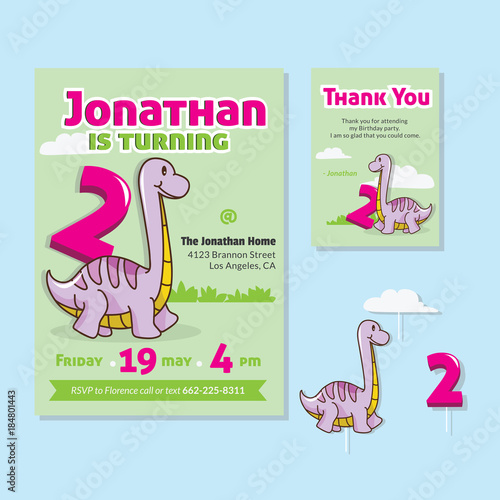 Cute Dinosaur Theme 2nd Birthday Party Invitation And Thank You Card Illustration