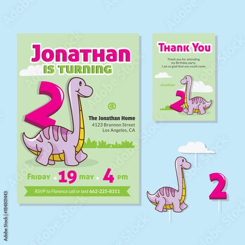 Cute dinosaur theme 2nd birthday party invitation and thank you card cute dinosaur theme 2nd birthday party invitation and thank you card illustration filmwisefo