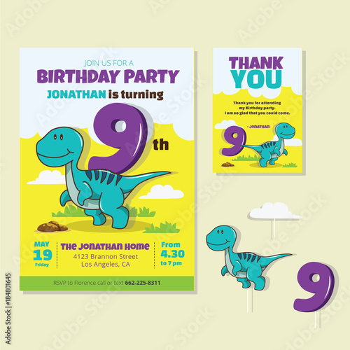 Cute Dinosaur Theme 9th Birthday Party Invitation And Thank You Card Illustration