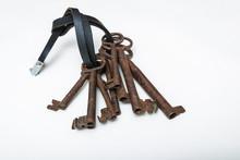 Set Of  Unique Old Keys Isolat...