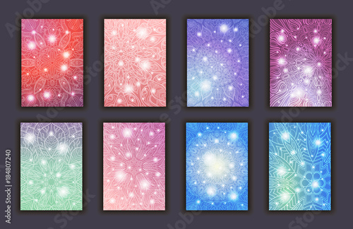Photo  Card set with floral glowing decorative mandala elements background