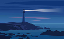Lighthouse On A Rock At Night....
