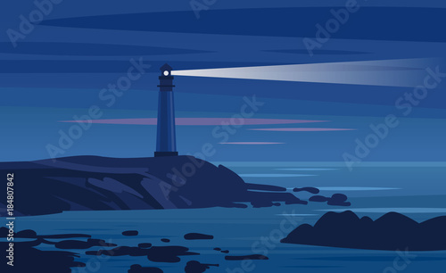 Lighthouse on a rock at night. Vector illustration Fototapet