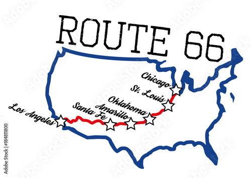 Photo Route 66 with main cities map