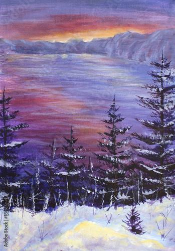 malarstwo Duże drzewa Choinki pokryte śniegiem na tle purpurowego wschodu słońca nad oceanem, zimowy ocean, fioletowe góry, zima.