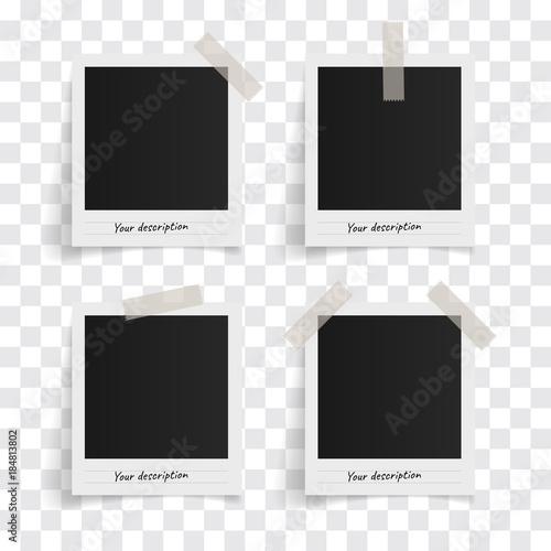 set of polaroid vector photo frames on sticky tape on a