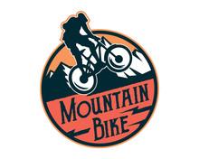 Vintage Extreme Downhill Mountain Bike Emblem Badge Illustration