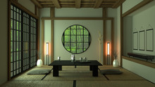 Room Design Japanese-style. 3D...