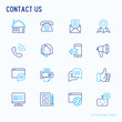 Contact us thin line icons set of telephone, fax, operator call center, e-mail, chat bot, pointer, feedback. Modern vector illustration.