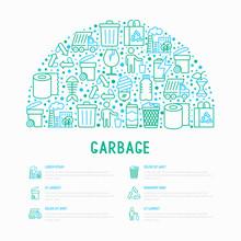Garbage Concept In Half Circle...