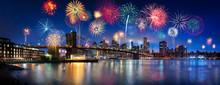 Feuerwerk über New York City,...