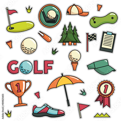 Vintage 80s 90s Golf Fashion Cartoon Illustration Set Suitable For
