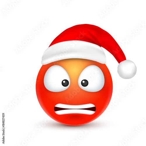 Smiley,emoticon  Red emoji, face with emotions and Christmas