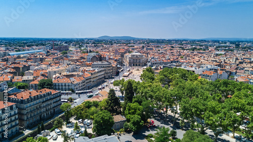 Foto op Plexiglas Luchtfoto Aerial top view of Montpellier city skyline from above, Southern France