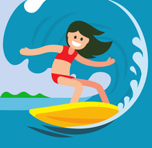 Young Surfer Girl On The Crest...