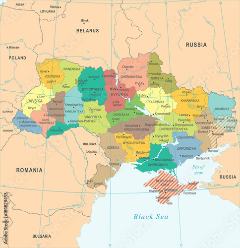 Fototapeta Ukraine Map - Detailed Vector Illustration