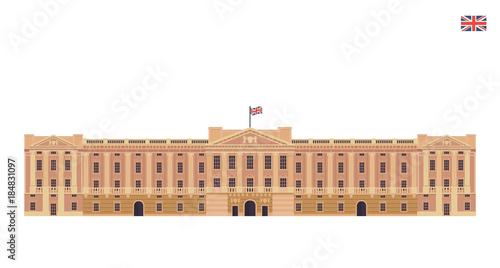 Modern United Kingdom Famous Tourist Landmark Building Illustration - Buckingham Canvas Print