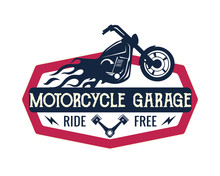 Vintage Motorcycle Speedshop Logo Badge Illustration