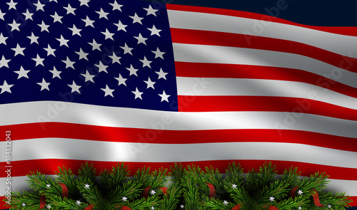 Patriotic Christmas Background.Vector American Flag With Christmas Tree Board Christmas