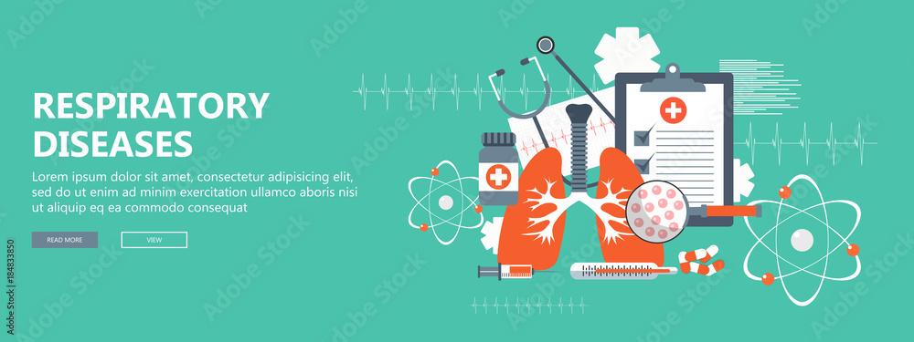 Fototapeta Respiratory diseases banner. Flat vector illustration