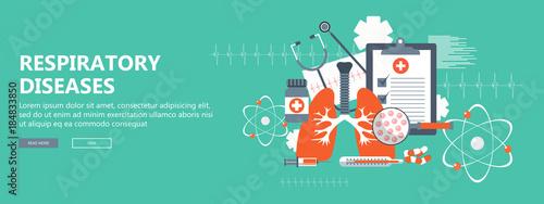 Obraz Respiratory diseases banner. Flat vector illustration - fototapety do salonu