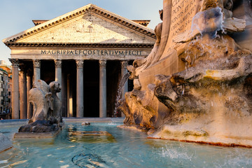 The ancient Pantheon at twilight in  Rome