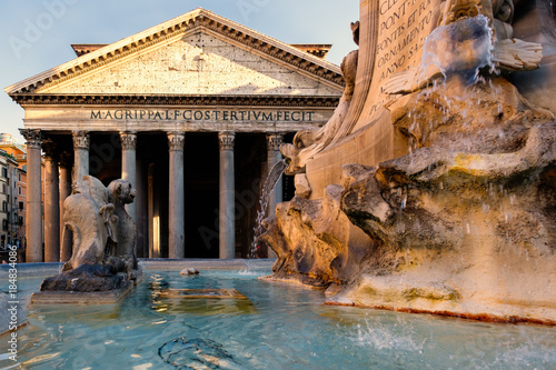 The ancient Pantheon at twilight in  Rome Wallpaper Mural