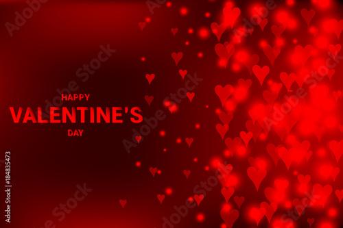Fototapeta Red background with flowing defocused blurred heart. happy Valentine s day vector illustration obraz na płótnie