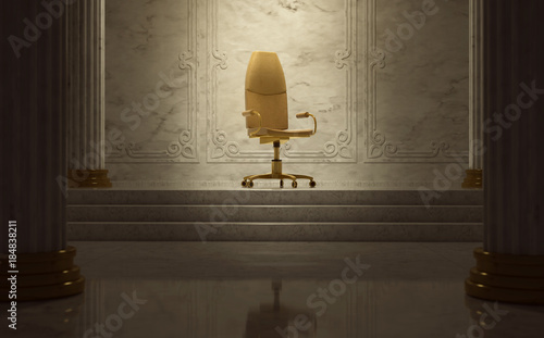 Goldener Bürostuhl als Thron Canvas Print