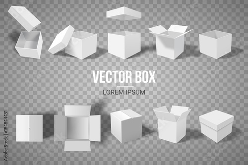A set of open and closed boxes in different angles Fototapeta
