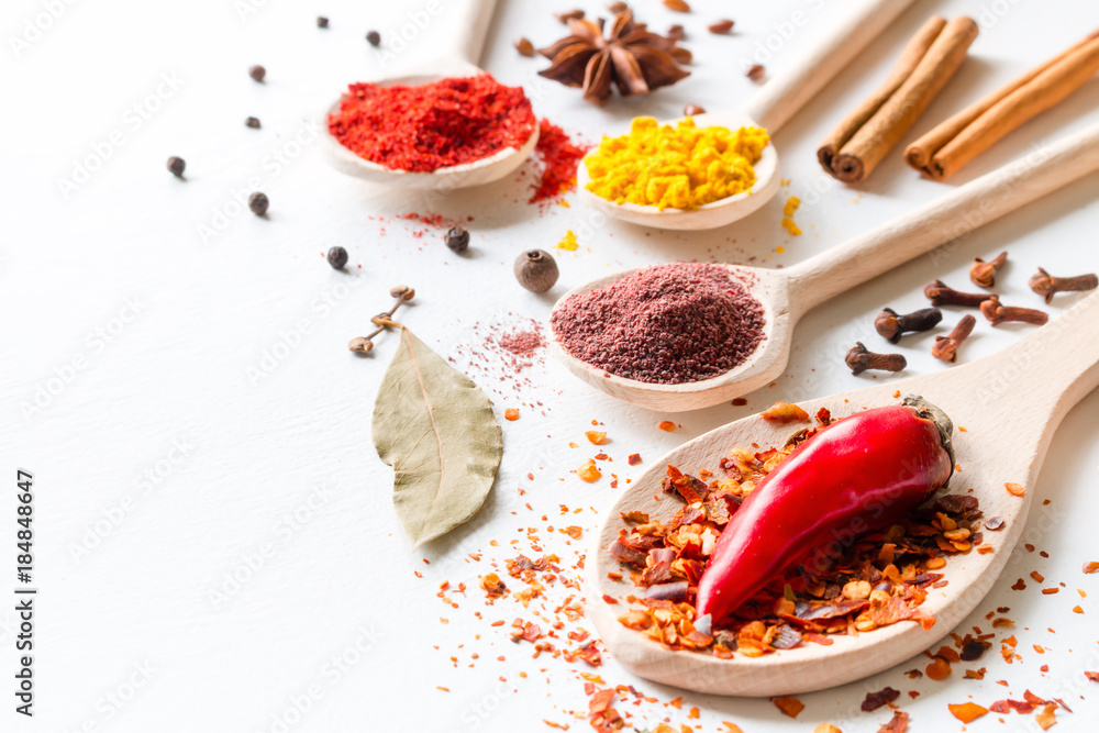 Fototapety, obrazy: seasoning and spices on a white background closeup