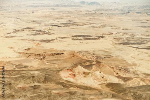 Staande foto Oceanië Landscape of israel negev desert. Sand background and blue summer sky