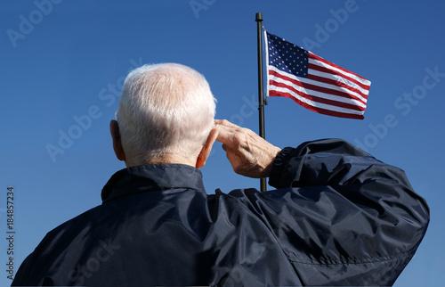 Fotografie, Obraz  An American veteran salutes the American flag.