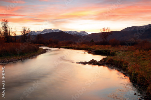 Provo River Sunset landscape, Utah, USA.