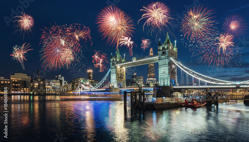 celebration of the New Year in London at the Tower bridge with firework, UK
