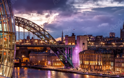 Aluminium Prints Sydney Tyne Bridge and night cityscape under colourful sunset, Newcastle upon Tyne, England, UK