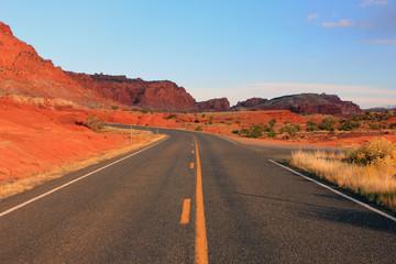 Empty desert highway, Utah, USA.