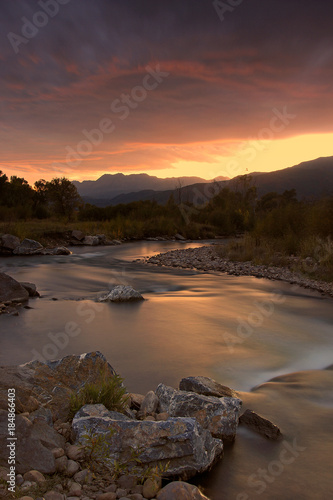 Canvas Prints Cappuccino Provo River Sunset, Heber Valley, Utah, USA.