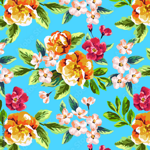 Pretty Painted Flowers Background Blue Buy This Stock