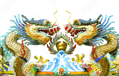 Two dragon on roof with white background Poster