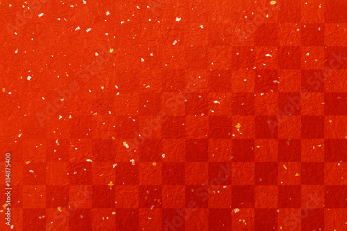 obraz PCV 年賀状赤い和紙素材-金箔銀箔市松模様