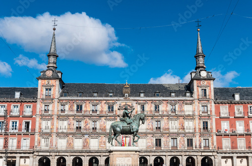 In de dag Madrid Philip III on the Plaza Mayor in Madrid, Spain.