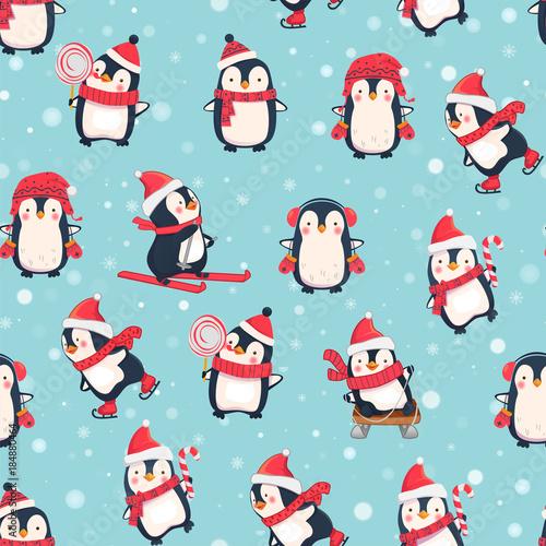 Fototapeta premium wzór z pingwinami