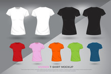 Women T-shirt Mockup, Set Of Black, White And Colored T-shirts Templates Design. Front And Back View Shirt Mock Up. Vector Illustration