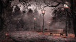 canvas print picture - Dusk in the park