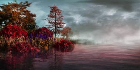 Panel Szklany Drzewa Fog on the lake