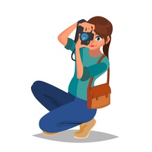 Photographer Woman Vector. Pho...